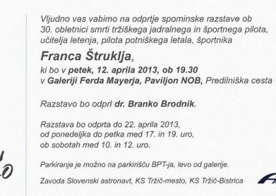 Štrukelj Franc 2013 Spominska razstava vabilo 3b