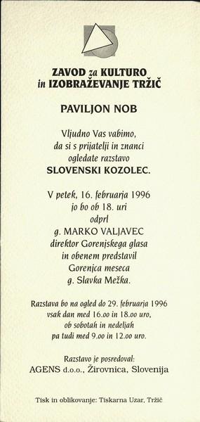 AGENS doo Žirovnica 1996 Slovenski kozolec vabilo 3