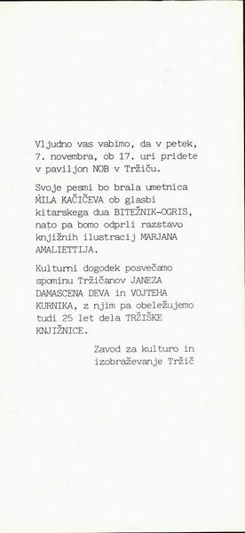 Amaletti Marjan 1986 25 let dela Tržiške knjižnice vabilo 3a
