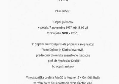 Dolenc Veno 1997 Spleen vabilo 3b