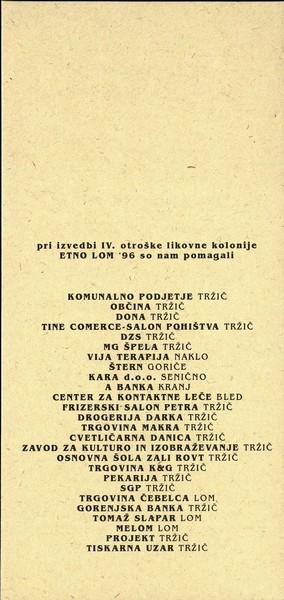 FS KARAVANKE, OŠ Zali rovt 1996 LJUDSKA OBLAČILA ob 30 letnici delovanja FS Karavanke in ETNO LOM 96 dela otroške likovne kolonije vabilo 3b