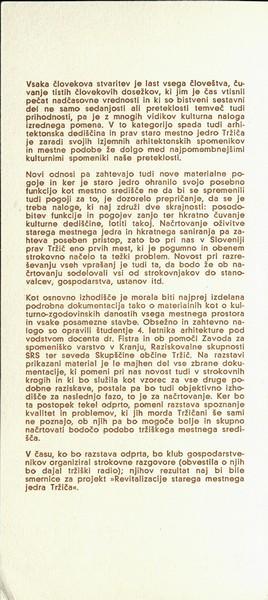 Fakulteta za arhitekturo Zavod za spomeniško varstvo v Kranju et al 1974 Staro tržiško mestno jedro v novi funkciji I vabilo 3b