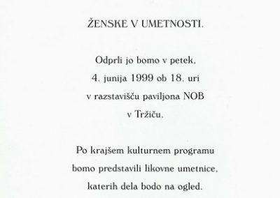 Golja Katarina et al 1999 mednarodna razstava Ženske v umetnosti vabilo 3c