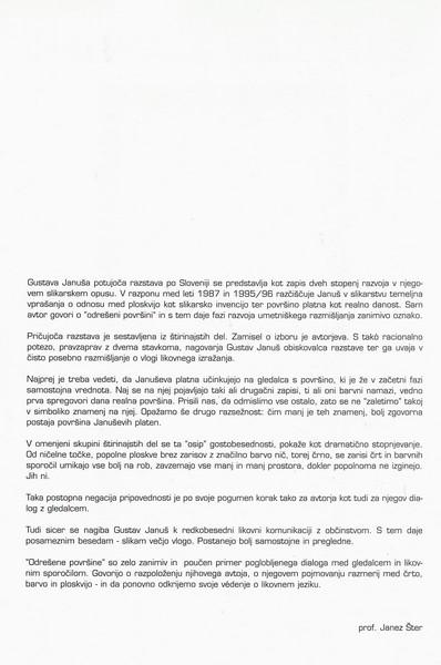 Januš Gustav 1997 Odrešene ploskve katalog 3b