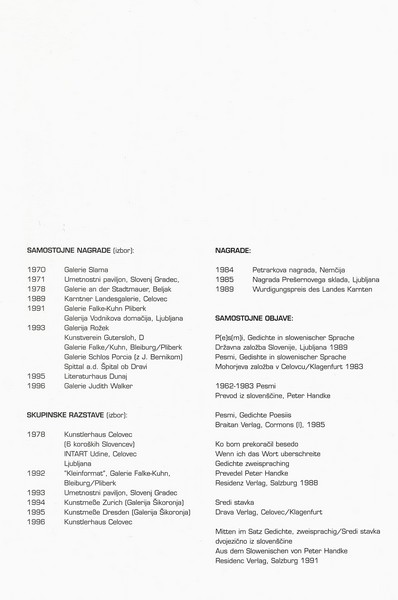 Januš Gustav 1997 Odrešene ploskve katalog 3g