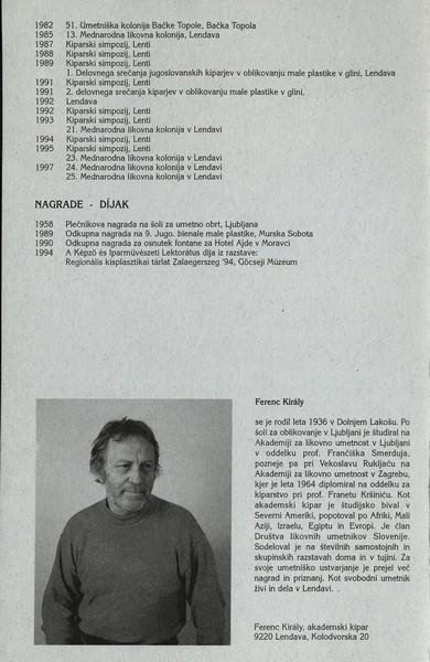 Kiraly Ferenc 1998 Razklenjeno v prostoru vabilo 3b