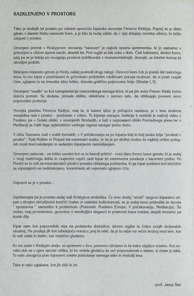 Kiraly Ferenc 1998 Razklenjeno v prostoru vabilo 3c