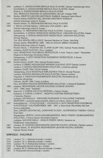 Kiraly Ferenc 1998 Razklenjeno v prostoru vabilo 3e