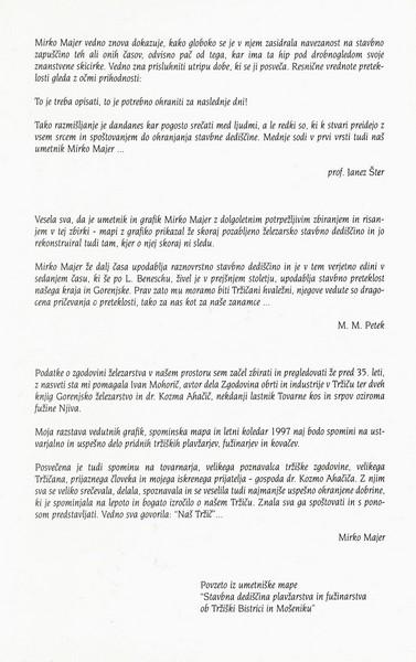 Majer Mirko 1996 Stavbna dediščina plavžarstva in fužinarstva ob Tržiški Bistrici in Mošeniku vabilo 3c