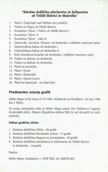 Majer Mirko 1996 Stavbna dediščina plavžarstva in fužinarstva ob Tržiški Bistrici in Mošeniku vabilo 3e