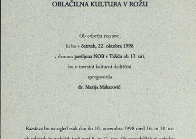 Makarovič Marija 1998 Oblačilna kultura v Rožu vabilo 3b