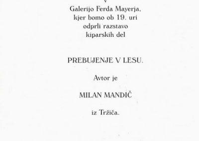 Mandič Milan 1999 Prebujenje v lesu vabilo 3c