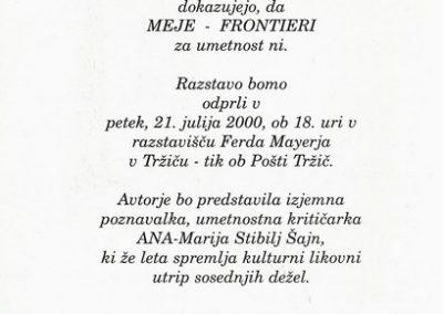 Mednarodna likovna razstava Sožitje umetnosti Hrvatske, Italije in Slovenije 2000 Meje Frontieri vabilo 3b
