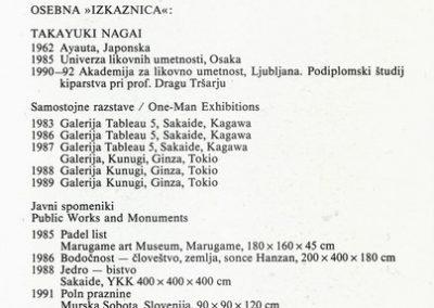 Nagai Takayuki 1993 Poln praznine vabilo 3b