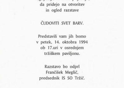 OŠ Bistrica 1994 Čudoviti svet barv vabilo 3b