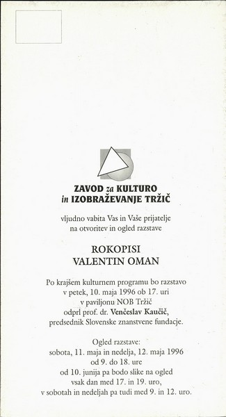 Oman Valentin 1996 Rokopisi vabilo 3a
