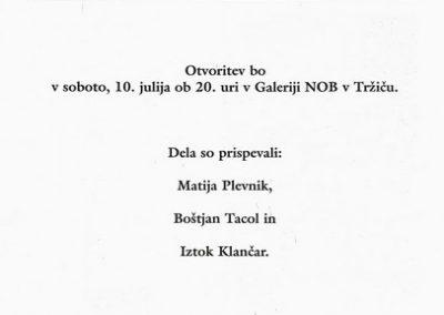 Plevnik Matija Tacol Boštjan Iztok Klančar 1999 Kunsthisterik vabilo 3b