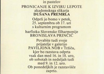 Premrl Dušan 1992 Pronicanje k izviru lepote vabilo 3b