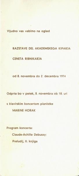 Ribnikar Cene 1974 vabilo 3c