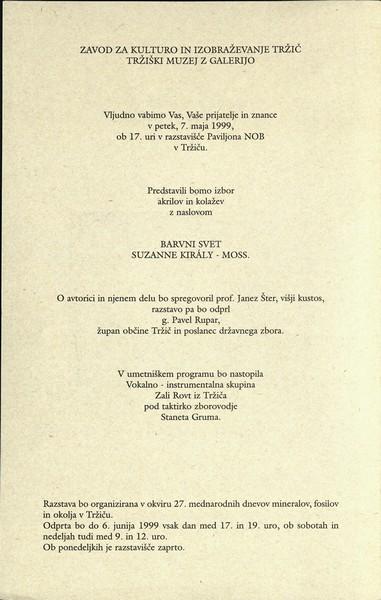 Suzanne Kiraly - Moss 1999 Barvni svet vabilo 3b