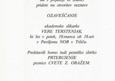 Terstenjak Vera 1995 Prehod ozaveščanje vabilo 3b