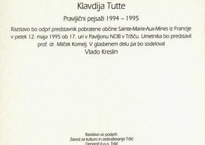 Tutta Klavdij 1995 Pravljični pejsaži 1994 - 1995 vabilo 3b