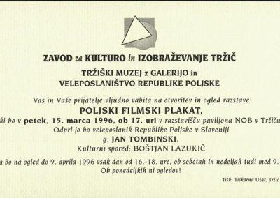 Veleposlaništvo Republike Poljske 1996 Poljski filmski plakat vabilo 3